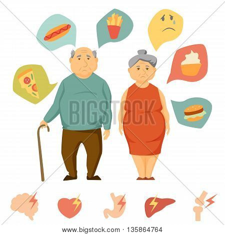 Old man and women obesity infographics. Unhealthy food and human organ attack chart. Fat old people concept. Sad couple diet infographics. Heart attack, brain, liver, bone, stomach, burger vector icon
