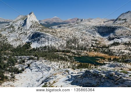 Cathedral Peak and Cathedral Lake on a Sunny Day. Sierra Nevada Yosemite National Park California
