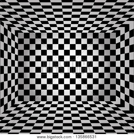 Black And White Chessboard Walls Room Background Vector Eps 10