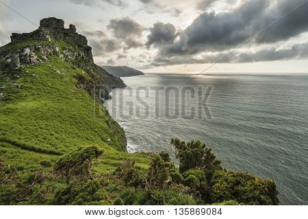 Beautiful Evening Sunset Landscape Image Of Valley Of The Rocks In Devon England