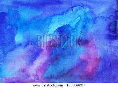 Hand painted backdrop. Ink illustration. Hand drawn watercolor ombre. Artistic watercolor background. Artistic brush painting.