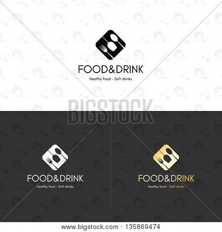 Food and drinks logotype symbol, for cafe, coffee house, restaurant, bar. With a spoon, fork, wineglass