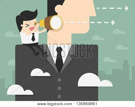 Young Businessman Looking Forward on The Shoulder of Giant Businessman. business vision concept illustration