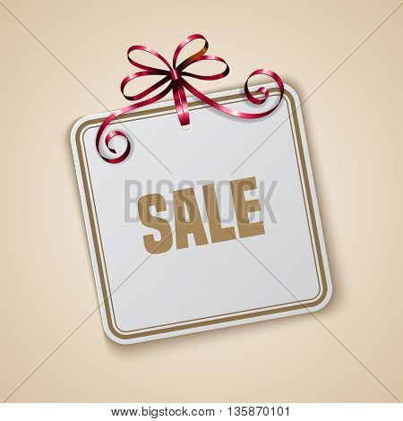 Sale tag with golden ribbon on red background. Banner or poster template. Vector illustration.