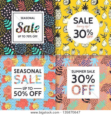 Modern sale banners template for social media and mobile apps. Creative sale banners with hand drawing seamless pattern design.