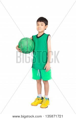 Little Boy Playing Greea Basketball In Green Pe Uniform Sport With Clipping Path Isolate On White Ba