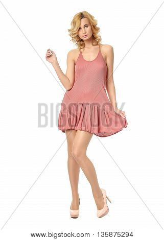 Beauty Blonde Woman In Short; Nightdress Isolated