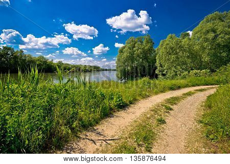 River Drava landscape and path on croatian hungarian border Podravina region of Croatia