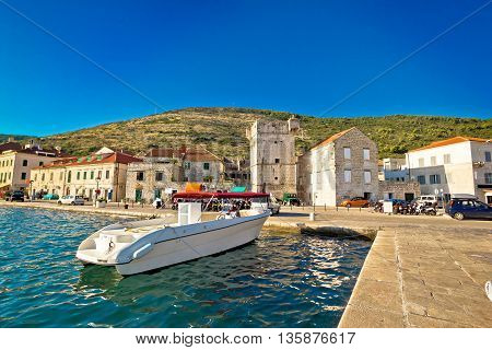 Island of Vis summer harbor and architecture view Dalmatia Croatia