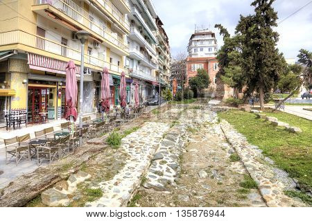 THESSALONIKI GREECE - March 14.2016: The remains of ancient roadway in the historical center of city
