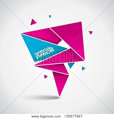 Special price bubble - origami style with vibrant pink and blue colors