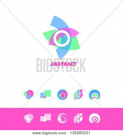 Vector company logo icon element template circle pastel colors set abstract square shape circle