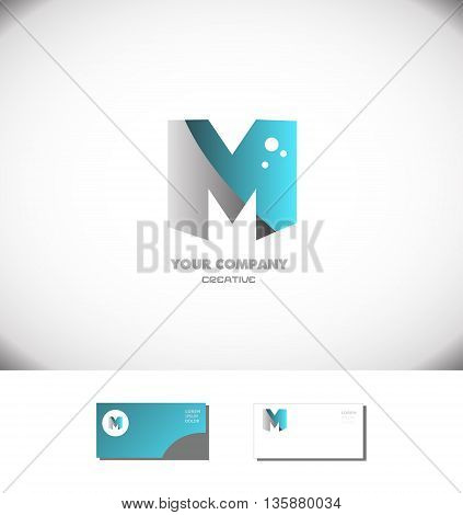 Vector company logo icon element template creative alphabet letter m blue grey silver games media