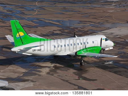 Kiev Ukraine - May 17 2012: South Airlines Saab 340B parked on the apron of the airport