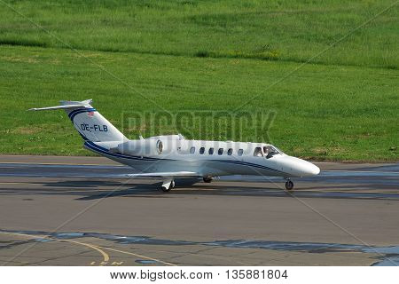Kiev Ukraine - May 17 2012: Cessna 525A Citation Jet 2 Plus taxiing along the apron at the airport