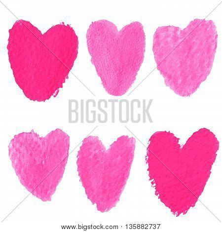 Red Heart Symbol shape water color shape in vector illustrations set 6 shape
