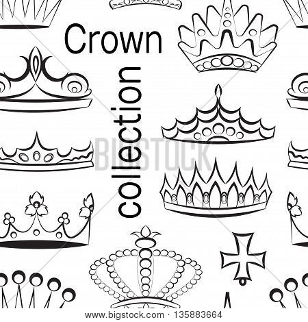 Crown collection pattern, crown set, silhouette crown set. Vector illustration, EPS 10