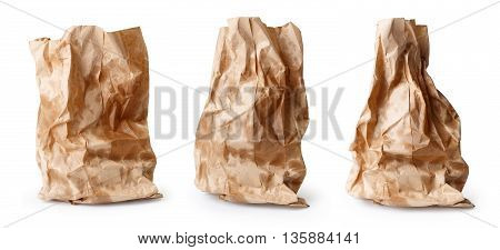 Set of crumpled paper bags with grease spots isolated on white