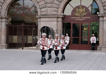 SOPHIA BULGARIA - JUNE 16 2016: Changing of the guard at the Presidential office