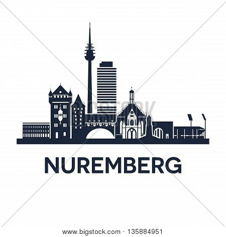 Abstract skyline of city Nuremberg in Germany, vector illustration