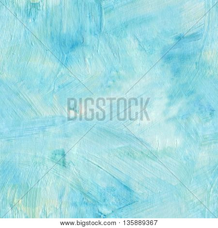 Seamless teal blue acrylic pattern with brush strokes; abstract background texture