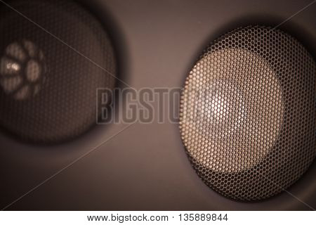 Close up image of a car's stereo speaker.