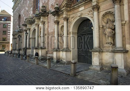Architectural details of Saint Pyotr's church - cathedral church of Roman Catholic Diocese of Riga Latvia Europe. For the first time Saint Peter's church is mentioned in chronicles of 1209 poster