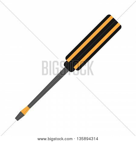 Screwdriver Vector Flat Icon. Construction Working Tool Item. Flat Logo Screwdriver Isolated On Whit