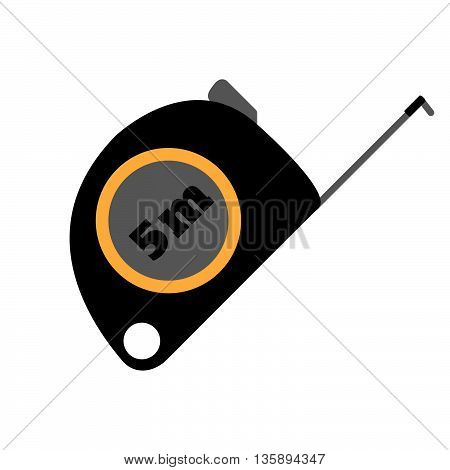 Roulette Measure Building Vector Flat Icon. Construction Working Tool Item. Flat Logo Roulette Measu