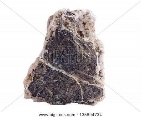 a piece of rock with quartz on a white background.