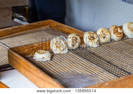 newly cooked traditional umegae mochi in dazaifu temmangu shrine fuguoka