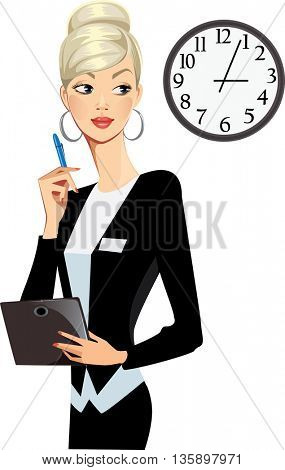 business woman with tablet and clock