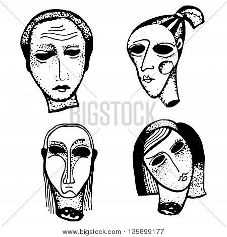 Horror hand drawn heads on white background