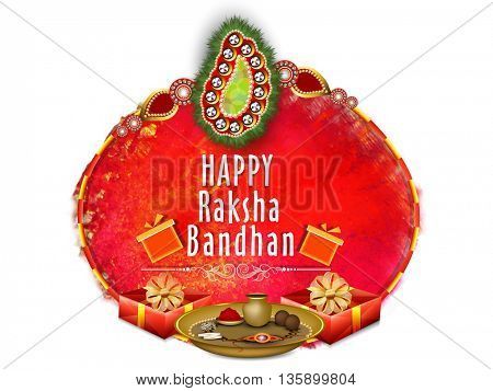 Happy Raksha Bandhan celebration greeting card design decorated with Beautiful Rakhi, Rakhi Puja Thali and Glossy Wrapped Gifts on abstract background.