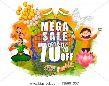 Mega Sale Poster, Banner or Flyer with 70% Off, Creative Sale Background with Indian National Symbols and Classical Dancers, National Flag Colors for Independence Day and Republic Day.