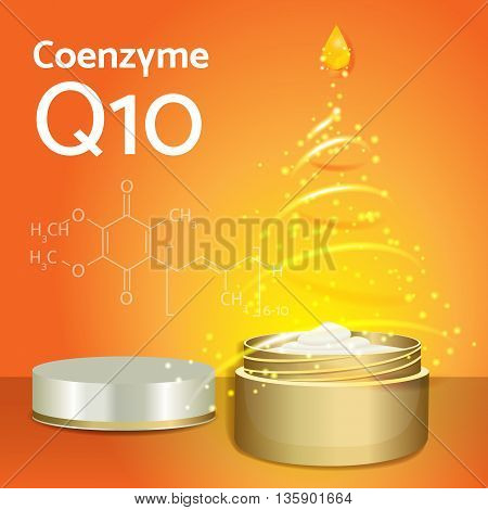 Skin Cream with Coenzyme Q10. Chemical Formula. Magic Spiral Drop. Collagen Solution. Supreme Collagen Serum Essence. Vector Illustration. Used for Medicine Banner, Poster, Cosmetics Advertising.