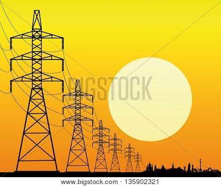 black silhouette of power lines on an orange background with the sun