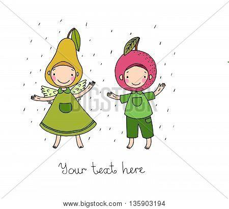 Cute cartoon apple and pear.Hand drawn vector illustration.