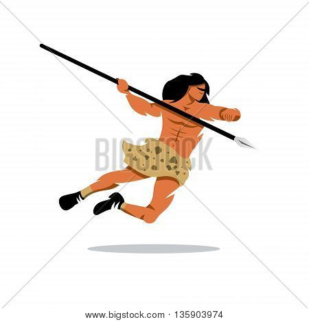 Warrior jumps with a spear. Isolated on a white background