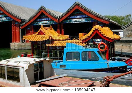 Beijing China - May 4 2005: The Royal Boathouse on Kunming Lake at the Summer Palace