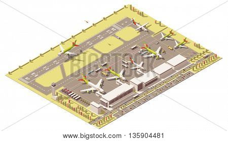 Vector Isometric icon or infographic element representing low poly airport terminal with traffic control tower, landing jet airplane, ground support vehicles working near airplanes at apron,