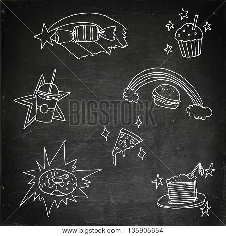 Magic food set. Hand drawn stock illustration. Chalk board drawing.