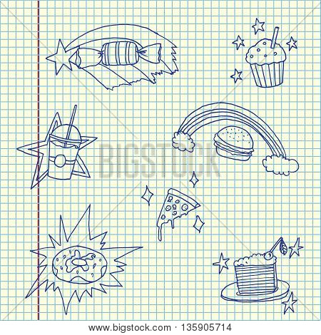 Magic food set. Hand drawn vector stock illustration. Sheet ballpen drawing.