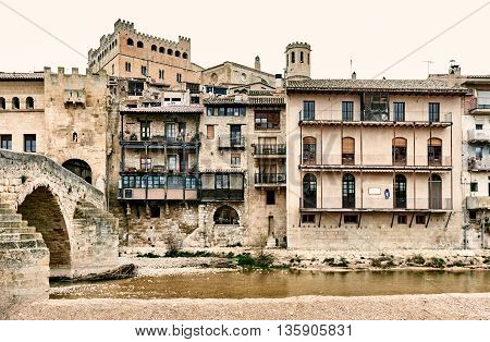 Medieval architecture of Valderrobres town. Province of Teruel Spain