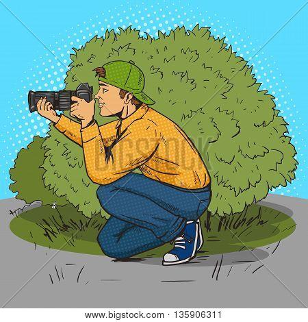 Paparazzi photographer pop art style vector illustration. Comic book style imitation
