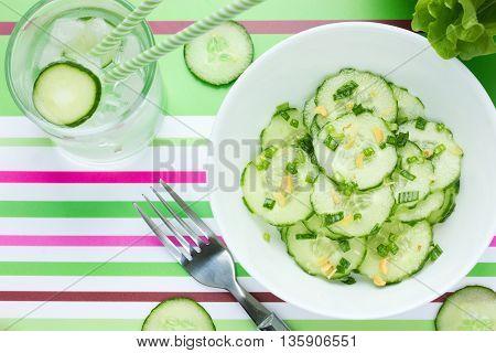 Fresh Cucumber salad light refreshing snack top view