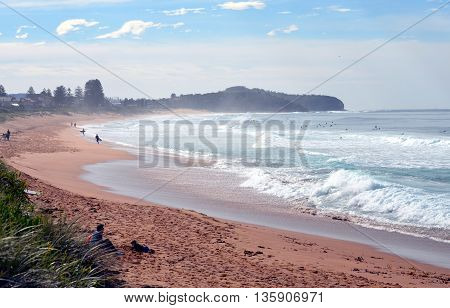 Sydney, AUSTRALIA - Jun 26, 2016. Sydneysiders surfing on the coldest day this year.
