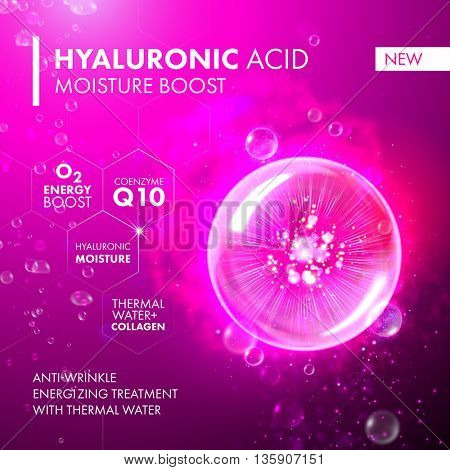 Hyaluronic Acid Moisture Boost. O2 collagen water molecule pink bubble drop. Skin care marine oxygen formula treatment design. Coenzyme anti wrinkle thermal water solution. poster