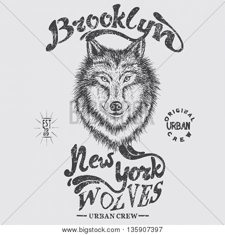 Urban graphic label with head of wolf.New York wolves.Hand drawn style.Typography design for t-shirts.Vector illustration