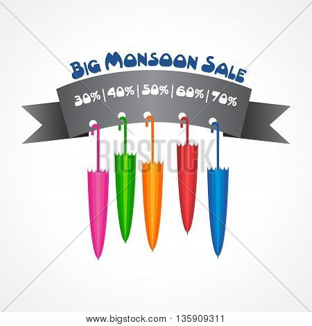 Big Monsoon sale banner for different discounts stock vector